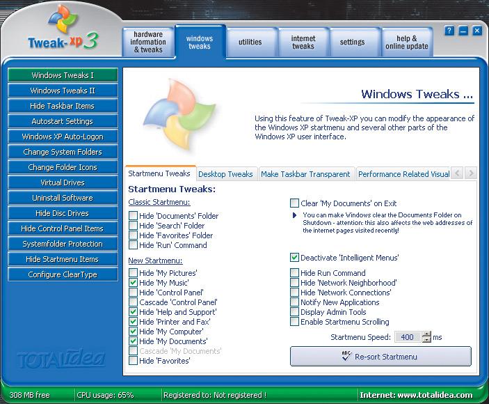 Рис. 2. Программа для удаленного редактирования реестра Tweak XP 3.0