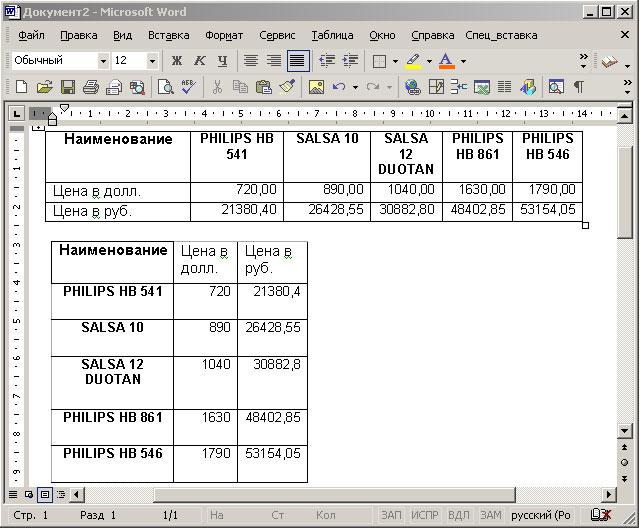 Результат вставки транспонированной таблицы в Word