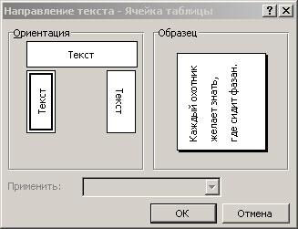 Изменение направления текста в ячейках