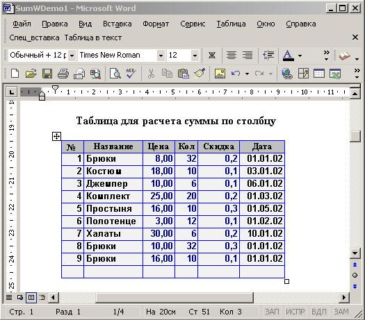 Исходная таблица для вычисления суммы по столбцу