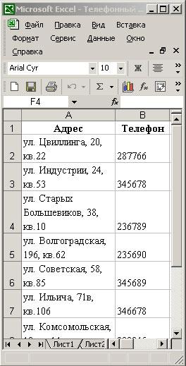 Исходный телефонный справочник
