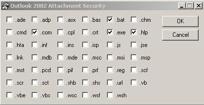 Блокировка файлов в окне Outlook 2002 Attachment Security