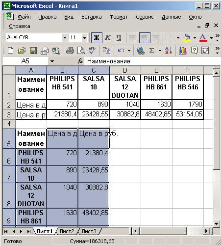 Результат вставки таблицы после транспонирования в Excel