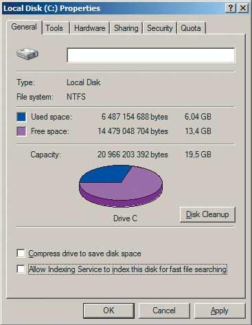 Рис. 8. Отключение службы индексирования файлов