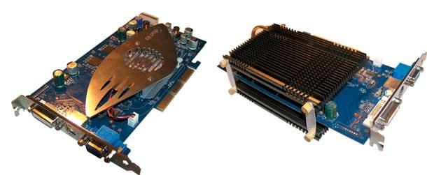 Рис. 8. Внешний вид видеокарты со штатной системой охлаждения (слева) и с системой охлаждения ZALMAN ZM80C-HP