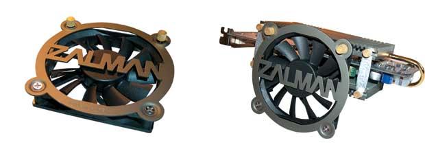 Рис. 9. Малошумящий вентилятор ZALMAN ZM-OP1 (слева) и его установка на видеокарту