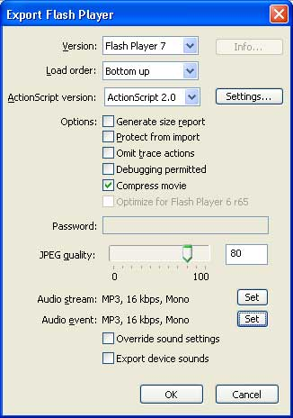 Рис. 28. Панель Export Flash Player