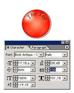 Рис. 16. Увеличение межбуквенного расстояния — внешний вид кнопки и состояние панели Character