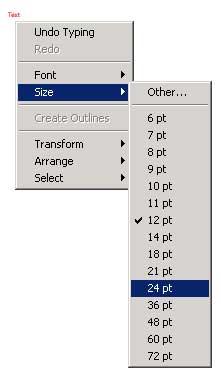 Рис. 2. Всплывающее окно изменения характеристик шрифта