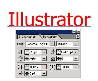 Рис. 31. Исходный текст с определяющей его параметры панелью Character