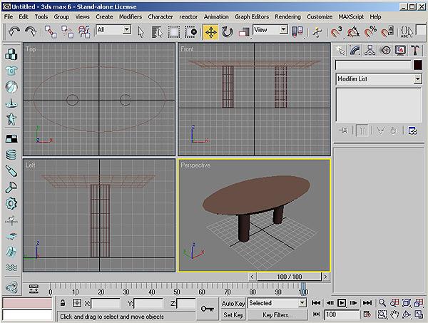 Рис. 30. Созданный стол в четырех проекциях