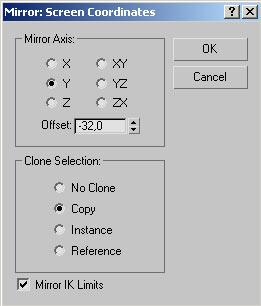 Рис. 28. Настройка параметров зеркального отражения