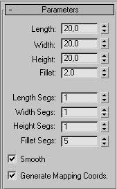 Рис. 37. Настройка параметров кубика на панели Modify