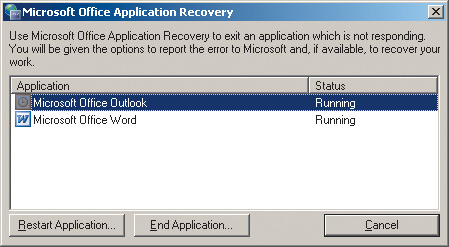 Рис. 10. Панель MS Application Recovery