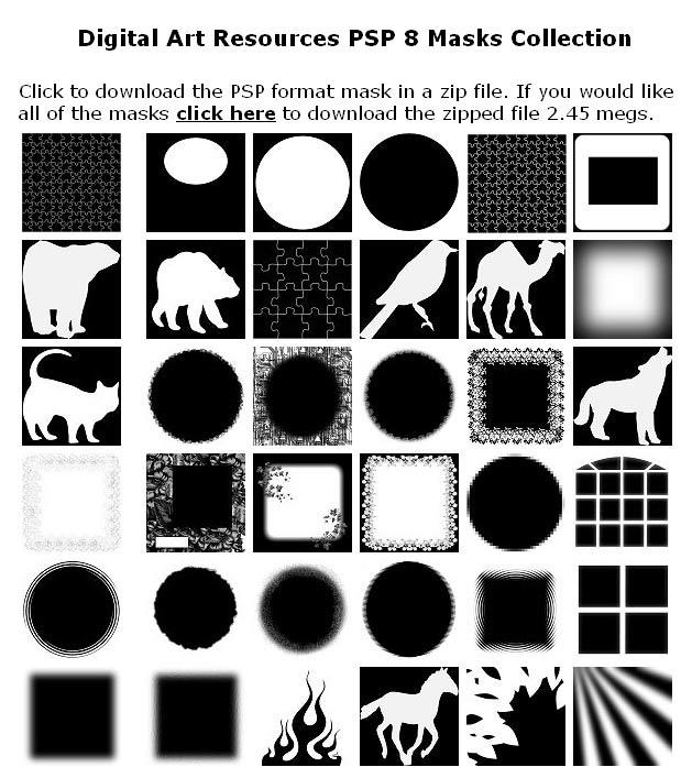 Рис. 1. Коллекция свободных для скачивания масок слоя на сайте http://www.digitalartresources.com/