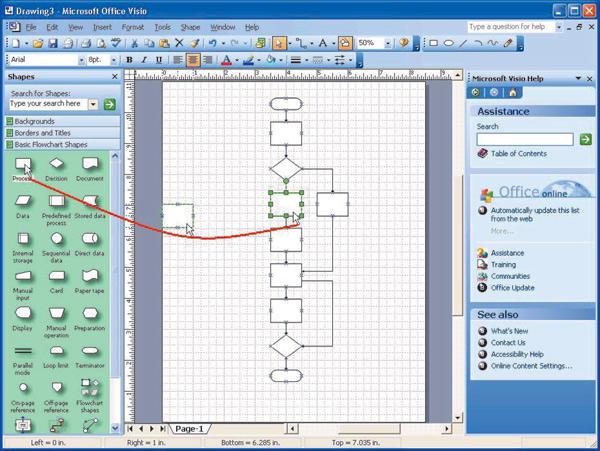 Создание блок-схемы в Visio
