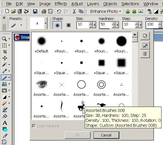 Рис. 16. Выбор кисти из набора кистей Adobe Photoshop