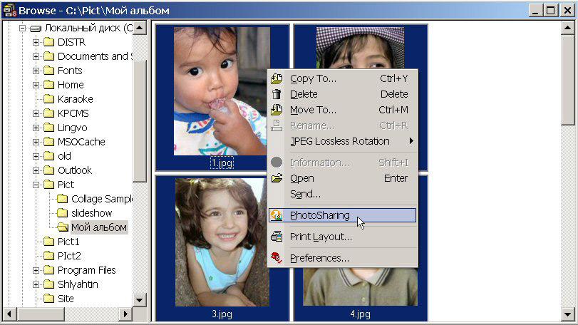 Рис. 3. Выбор команды PhotoSharing