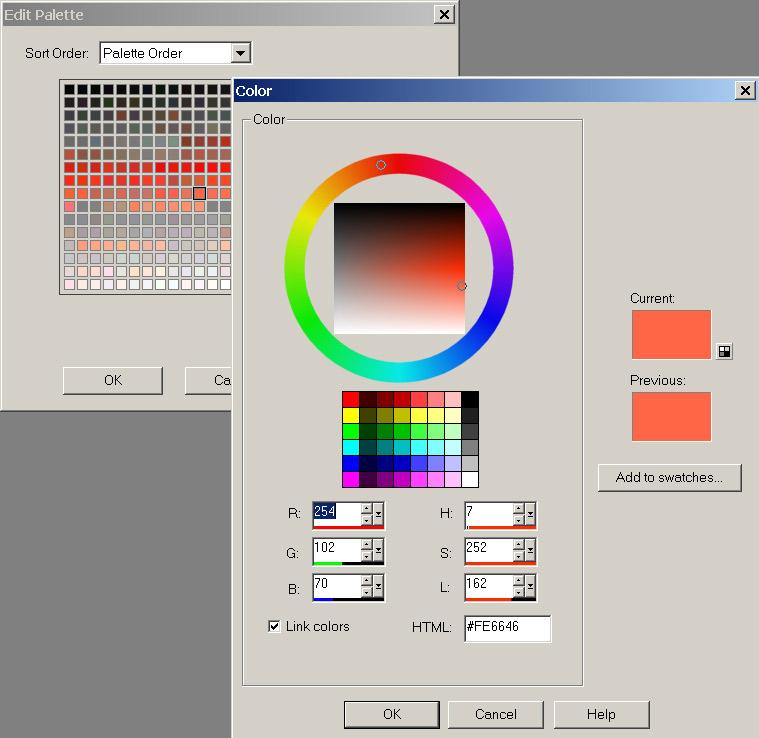 Рис. 31. Редактирование пользовательской цветовой палитры
