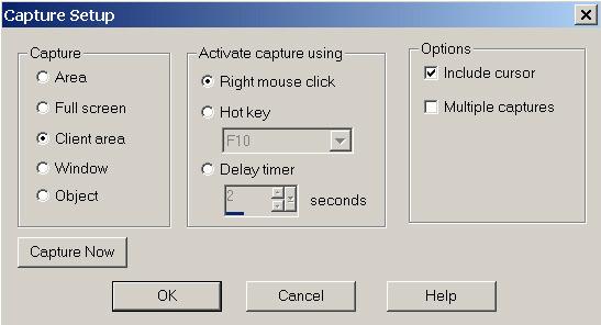 Рис. 32. Настройка параметров создания скриншотов