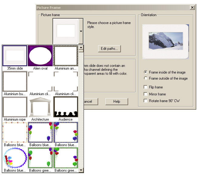 Рис. 6. Выбор рамки в окне Picture Frames