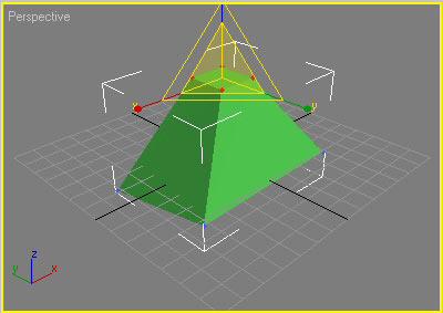 Рис. 8. Масштабирование вершин верхнего основания усеченной пирамиды