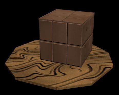 Рис. 15. Куб на волокнистой деревянной поверхности