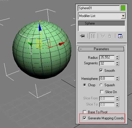 Рис. 2. Шар и соответствующая ему панель Modify (флажок Generate Mapping Coordinates включен)