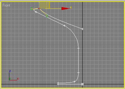 Рис. 38. Результат изменения кривизны сегментов, прилегающих к угловой вершине Безье