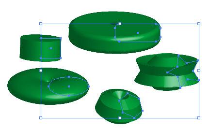 Рис. 1. Примеры моделей вращения вместе с исходными графическими примитивами
