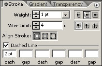 Рис. 14. Изменение параметров границы объекта на панели Stroke
