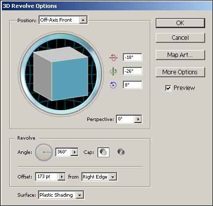 Рис. 16. Настройка параметров эффекта Revolve для треугольника