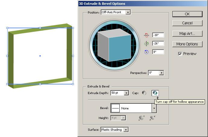 Рис. 22. Объемная рамка (вид объекта и настройки параметров эффекта Extrude & Bevel)