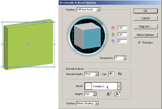 Рис. 24. Параллелепипед с фаской Complex 3 (вид объекта и настройки параметров эффекта Extrude & Bevel)