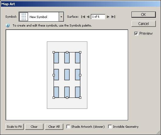 Рис. 47. Внедрение символа с окнами в окне Map Art