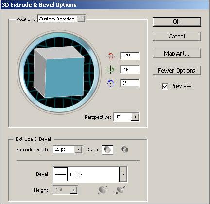 Рис. 51. Первый вариант настройки параметров эффекта Extrude & Bevel