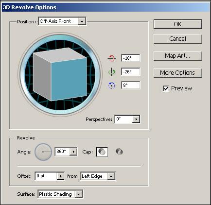 Рис. 8. Окно параметров эффекта Revolve