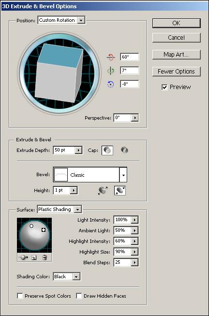 Рис. 91. Настройка параметров эффекта Extrude & Bevel для упаковки