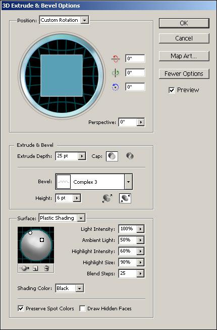 Рис. 97. Настройка параметров эффекта Extrude & Bevel для круга