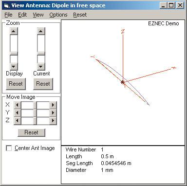 Рис. 14. Схема выбранной антенны в декартовой системе координат