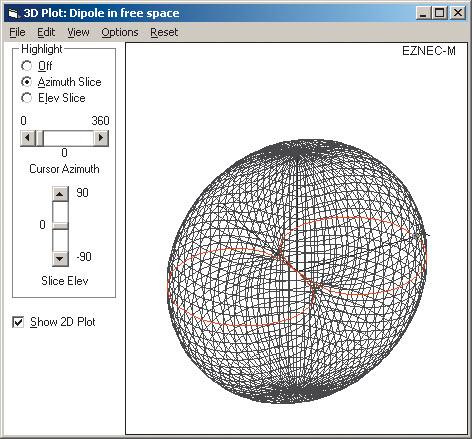 Рис. 15. Трехмерная диаграмма направленности для примера Dipole1.ez