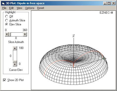 Рис. 18. Диаграмма направленности штыревой антенны при длине 1/2l в случае идеального рефлектора