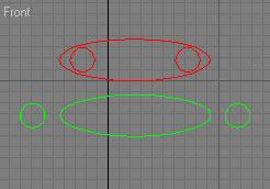Рис. 2. Пример двух сечений, которые не могут входить в состав одного и того же loft-объекта (в верхнем сечении два сплайна находятся внутри третьего, а в нижнем — рядом с ним)