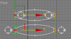 Рис. 3. Пример двух сечений, которые могут входить в состав одного и того же loft-объекта (в выделенных вершинах оба сплайна искусственно разомкнуты)