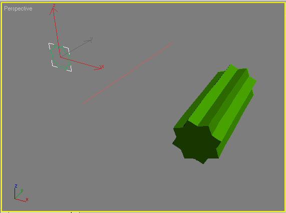 Рис. 4. Неудачная попытка масштабирования формы сечения (размер сечения был уменьшен, а loft-объект остался прежним)