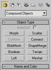 Рис. 5. Тип Compound Objects с входящими в него вариантами составных объектов
