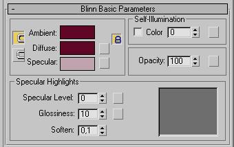 Рис. 25. Определение базовых цветов в свитке Blinn Basic Parameters