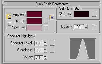 Рис. 29. Настройка параметров свитка Blinn Basic Parameters