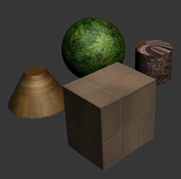 Рис. 34. Результат присвоения объектам сцены материалов на основе внешних текстур