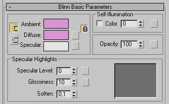 Рис. 35. Настройка параметров в свитке Blinn Basic Parameters